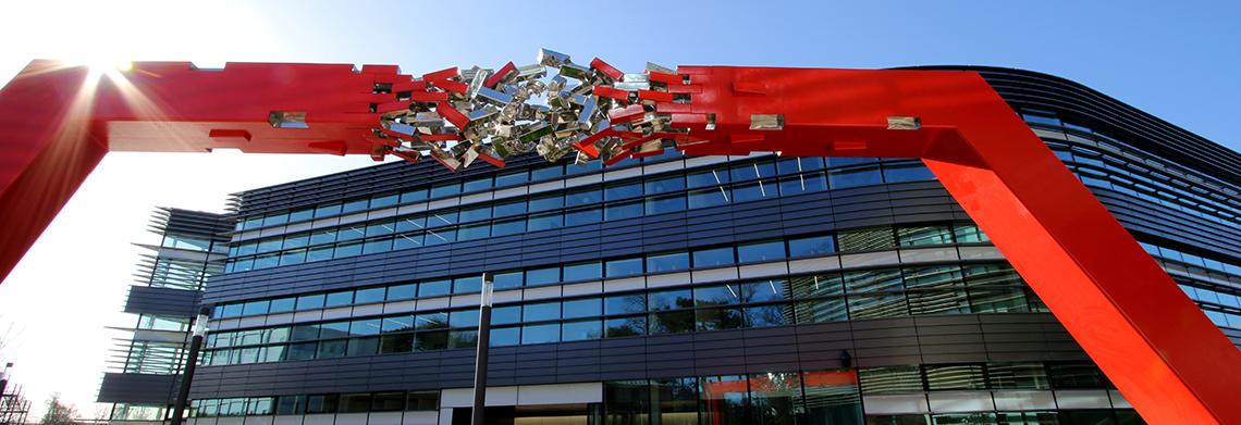 Exterior of Big Data Institute and sculpture.